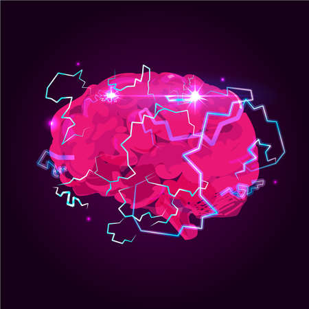 Charge the brain with lighting bolt - vector illustration
