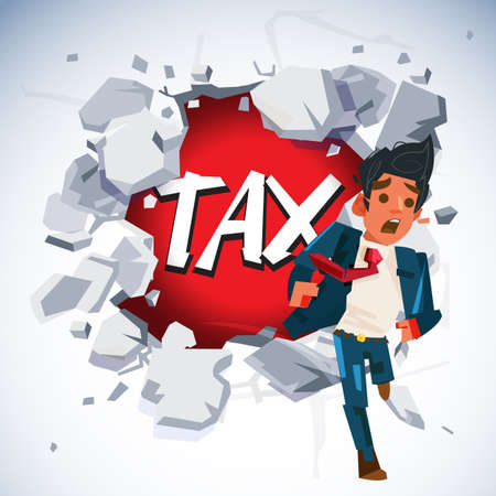 businessman running out to escape through white concrete wall with TAX text in behide. tax management concept - vector illustration 向量圖像