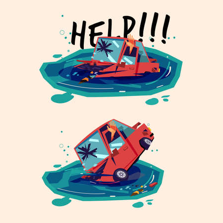 Car sinking on water in water. car accident - vector illustration