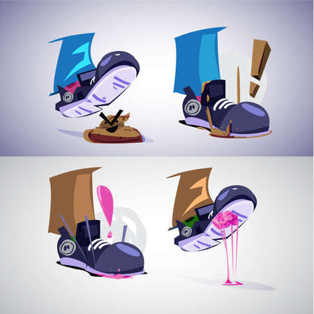 Foot stepping on shit and gum. before and after step - vector illustration