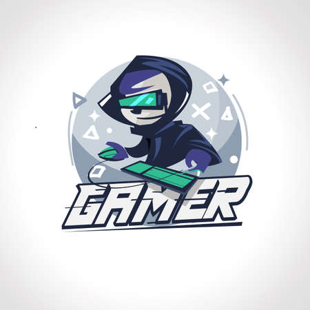 Gamer boy character design in acties. Gamer logo - vectorillustratie