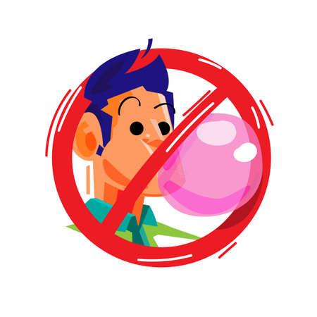 znak gumy do żucia nie - ilustracji wektorowych
