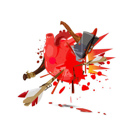 Multi weapon hitting on  human Heart and get injuried - vector illustration