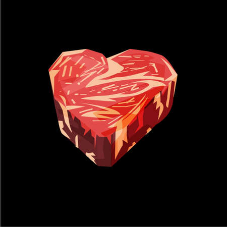 Meat or beef lover. beef as heart shape - vector illustration
