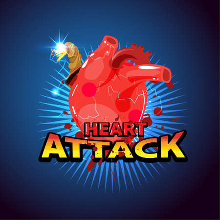 Human heart bomb. Heart attack concept - vector illustration - vector illusttaion