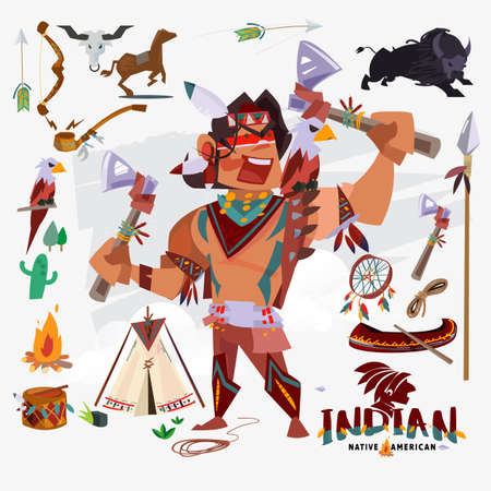 Indio o nativo americano con traje tradicional, armas, herramientas y otros. diseño de personajes - ilustración vectorial