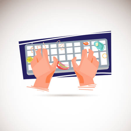 Human hand typing on computer keyboard with bacteria. dirty keyboard - vector illustration
