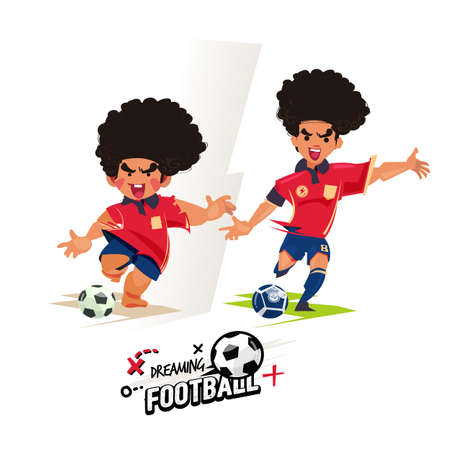 Boy and his future playing football. Then and Now concept. Dreaming to be a football player - vector illustration
