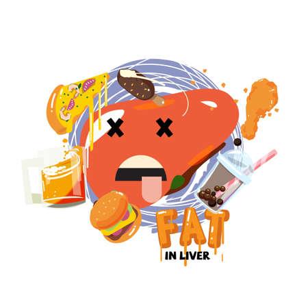 Fat in liver concept - vector illustration
