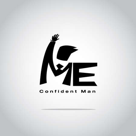 Me typographic or logotype. confident man concept - vector illustration