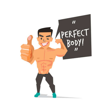 muscleman showing thumb up with Perfect Body speech bubble. character design  - vector illustraion