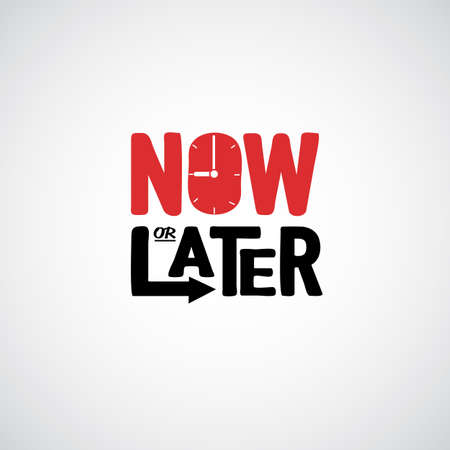 Now or later. logotype - vector illustration