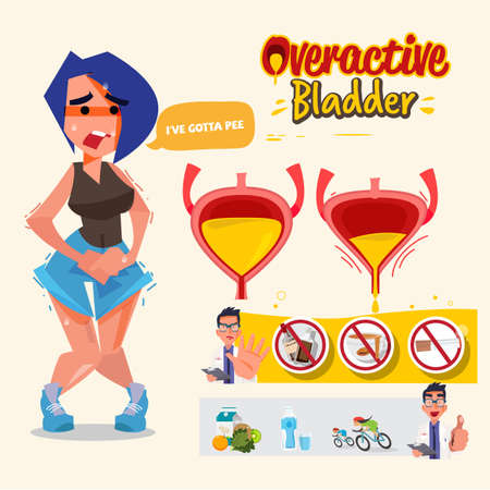 Overactive Bladder graphic information. Woman has pain in the genital area and Vaginal  - vector illustration 일러스트