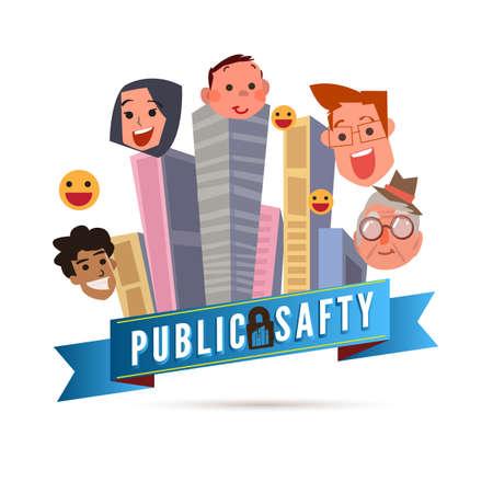 Concepto de seguridad pública. Edificio en gran ciudad con gente sonriente - ilustración vectorial Ilustración de vector
