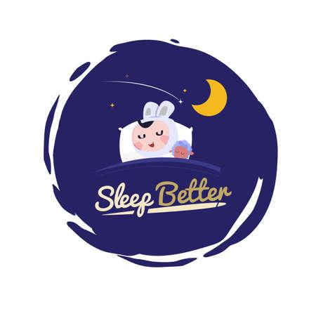 cute rabbit kid sleep at pillow. Better sleep concept. good night - vector illustration Illustration