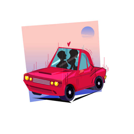 sex in a car - vector illustration