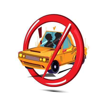 No sex in car sign - vector illustration Illusztráció