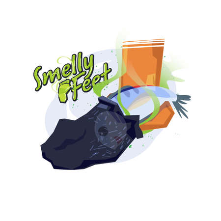 Smelly feet. Fish inside the sock. Feet smell like a fish concept. logotype for header design - vector illustration