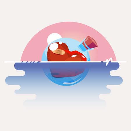 Floating heart in glass bottle - vector illustration