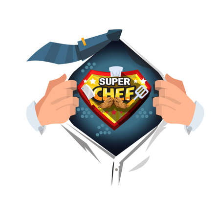 man open shirt to show super chef  - vector illustration