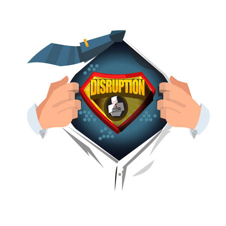 man open shirt to show Disruption logo and icon in cartoon style- vector illustration Illustration