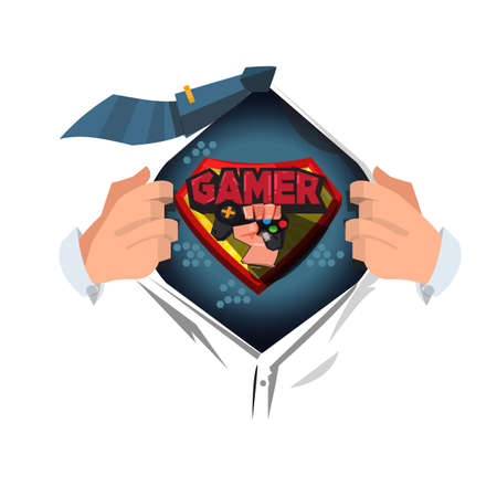 man open shirt to show Gamer  gamer man concept - vector illustration