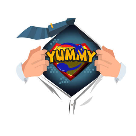 man open shirt to show yummy logo in cartoon style. super chief concept- vector illustration