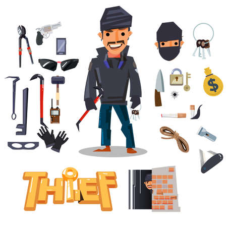Thief character design with tools. Illustration
