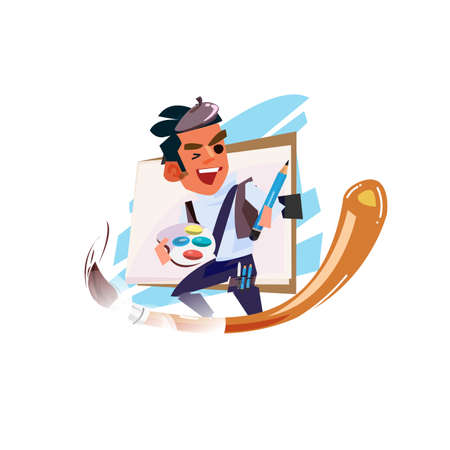 Artist boy ride in paint brush and holding drawing paper, tray of colour. artist character design - vector illustration