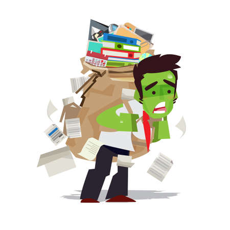 tried businessman carrying a lot of work like a zombie. workaholic concept - vector illustration