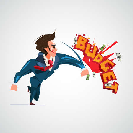 businessman hitting Budget text design. budget fight concept. no worry for budget - vector illustration Illustration