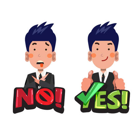 Businessman in actions with No and Yes typographic. accept or avoid concept - vector illustration Stock Illustratie