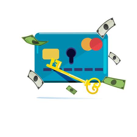 Tarjeta de crédito con agujero y llave para desbloquear dinero. piratear dinero. concepto financiero de seguridad - ilustración vectorial Ilustración de vector