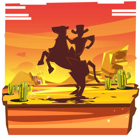 desert with silhouette of cowboy riding on the horse - vector illustration Illustration