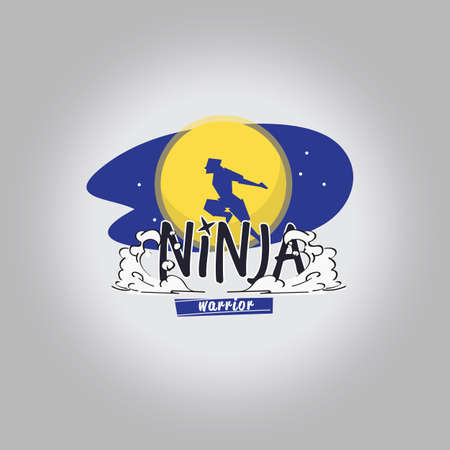Ninja warrior logotype. Ninja jump over the moon  - vector illustration