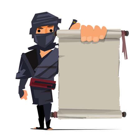 male ninja warrior showing old paper to presenting. ninja technique concept - vector illustration