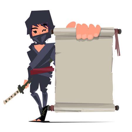 female ninja warrior showing old paper to presenting. ninja technique concept - vector illustration Illustration