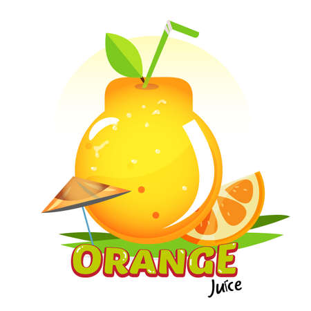 Orange juice as package bottle shape. Creative package concept with logotype - vector illustration