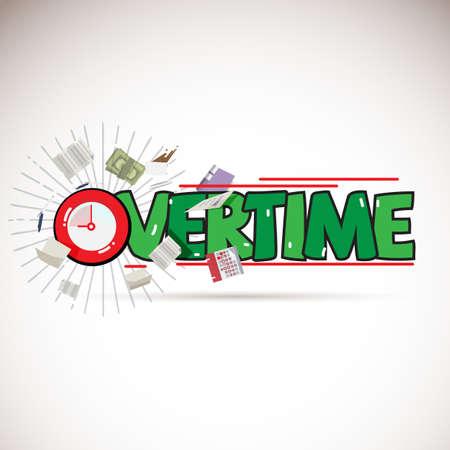 Concepto de logotipo de horas extraordinarias con elementos de trabajo - ilustración vectorial Logos