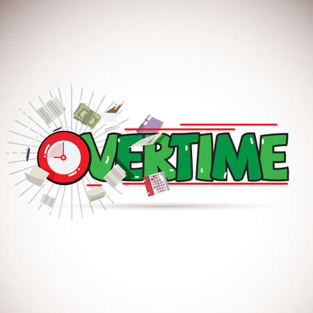Overtime logo concept with working elements - vector illustration