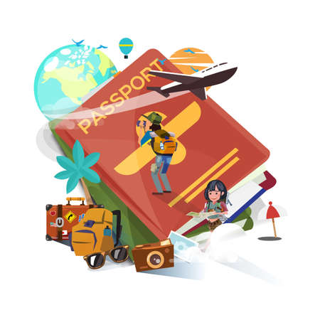 Passport with travel and explore ration elements, enjoy travel - vector illustration
