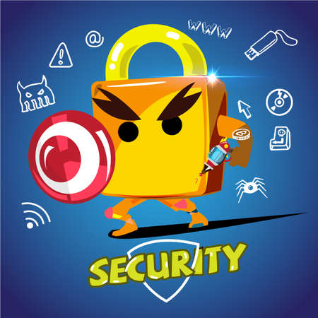 Padlock hero. Character design for padlock holding weapon and shield to protect. Illustration