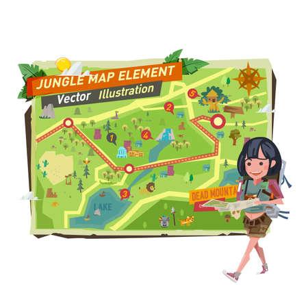chica turística con elementos del mapa de la selva. Carácter de niña turística caminando y sosteniendo el mapa de la selva - ilustración vectorial