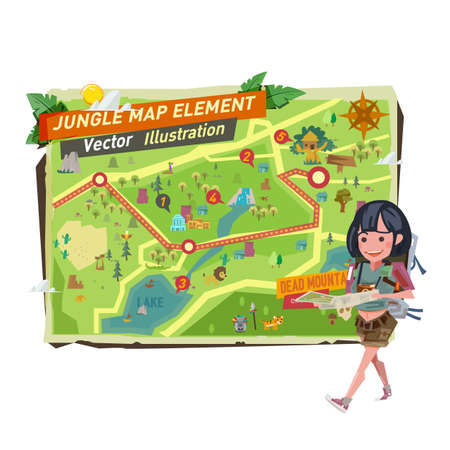 tourist girl with jungle map elements. tourist girl character walk and holding jungle map - vector illustration