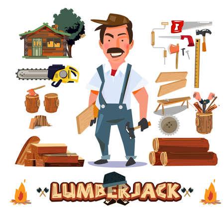 Diseño de personajes de leñador o carpintero con los equipos y herramientas.