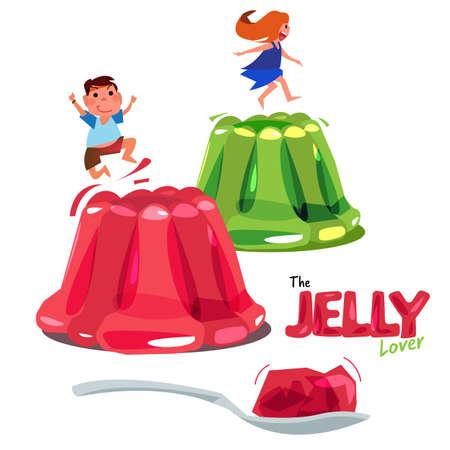 Enfant sautant ou jouant sur de la gelée colorée. Vecteurs