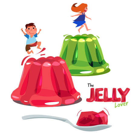 Kid jumping or playing on colourful jelly.