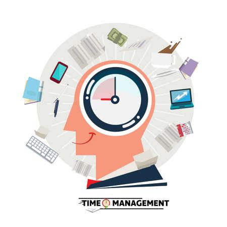Testa dell'uomo d'affari con l'orologio dentro e stazionario e carta di salto. Concetto di gestione del tempo - illustrazione vettoriale Vettoriali