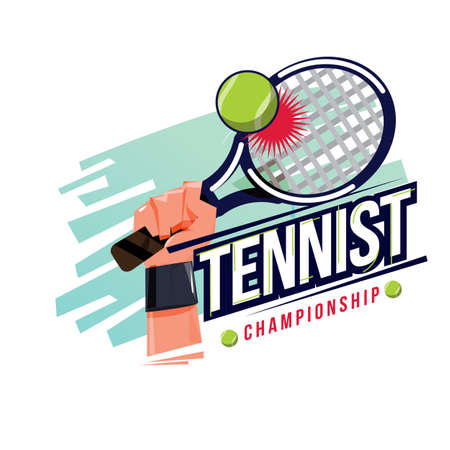 Hand holding tennis racket and hitting tennis ball with typographic - vector illustration Stock Illustratie