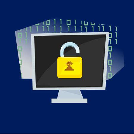 Computer screen with unlock key - vector illustration Иллюстрация